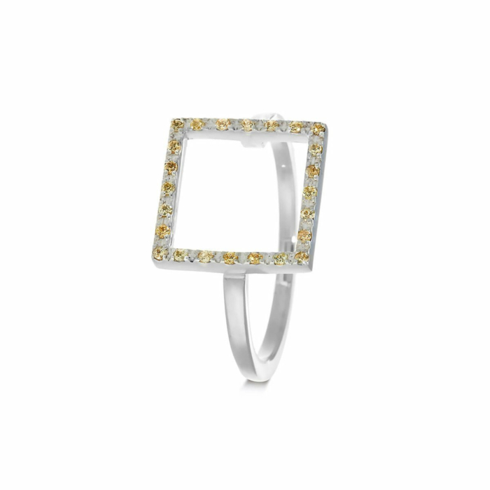 Sterling Silver & Sapphire Yellow Square Ring