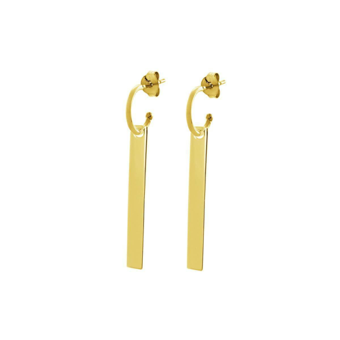 Yellow Gold Plated The Line Hoop Earrings