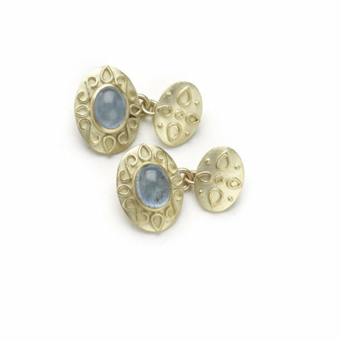 18kt Gold Patterned And Aquamarine Cufflinks