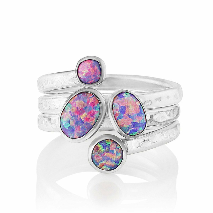 Hammered Sterling Silver Ring With Purple Opal