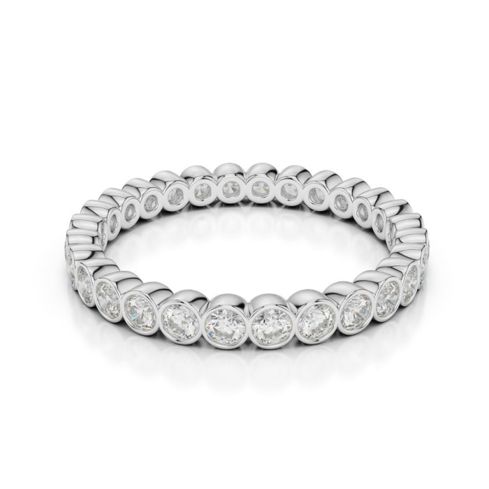 18kt White Gold Full Eternity Ring With Round-Cut, RubOver-Set Diamonds
