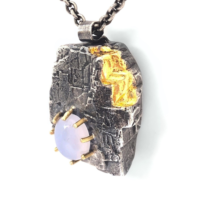 Oxidised Silver, 22kt Gold Roughness With a Twist Necklace with Chalcedony
