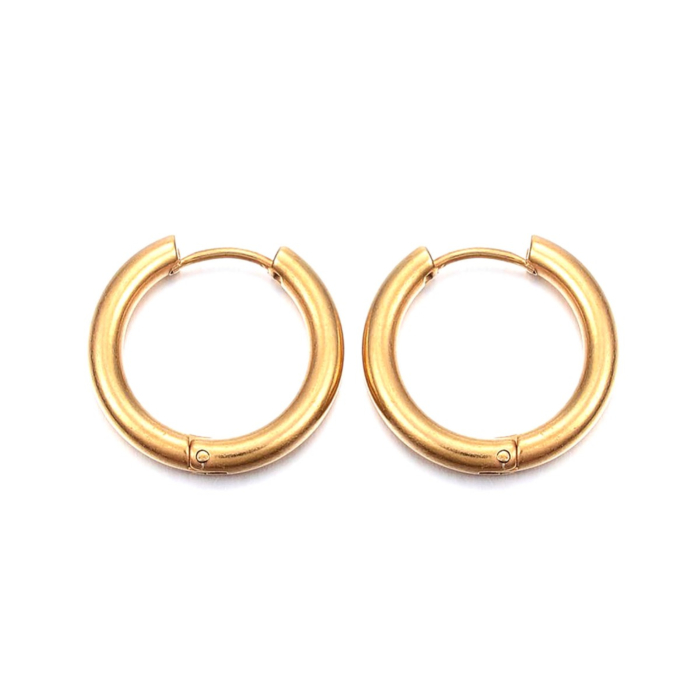 Can You Click It Gold Plated Hoop Earrings