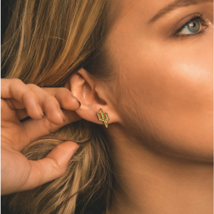 14kt Gold Plated Carla Cactus Stud Earrings