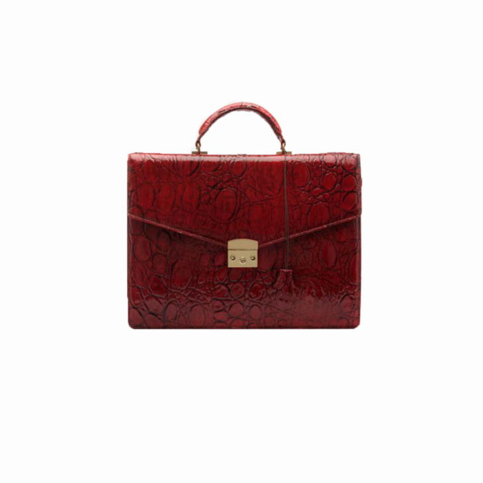 Red Leather Cataleya Laptop Bag