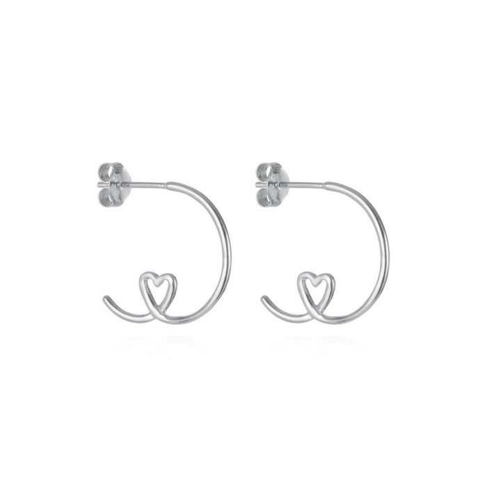 Sterling Silver Shape Of My Heart Hoop Earrings