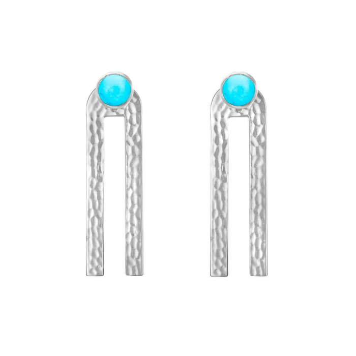 Sterling Silver Poppy Linear Earrings With Turquoise