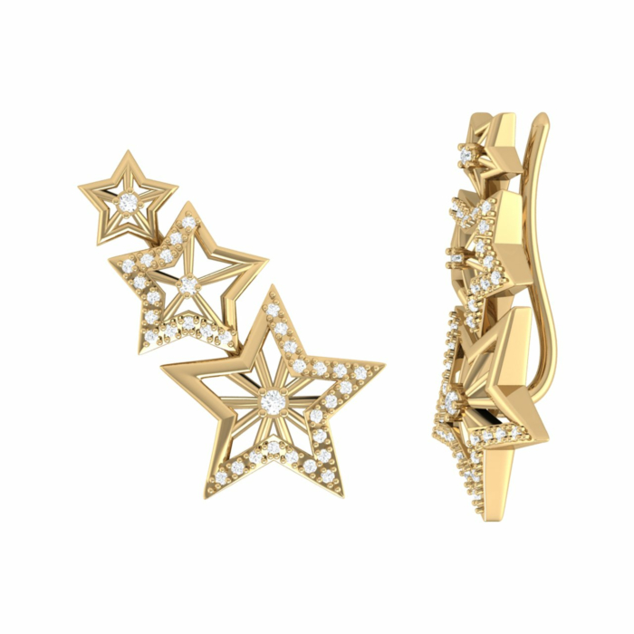 14kt Yellow Gold Plated Silver Starburst Ear Climbers