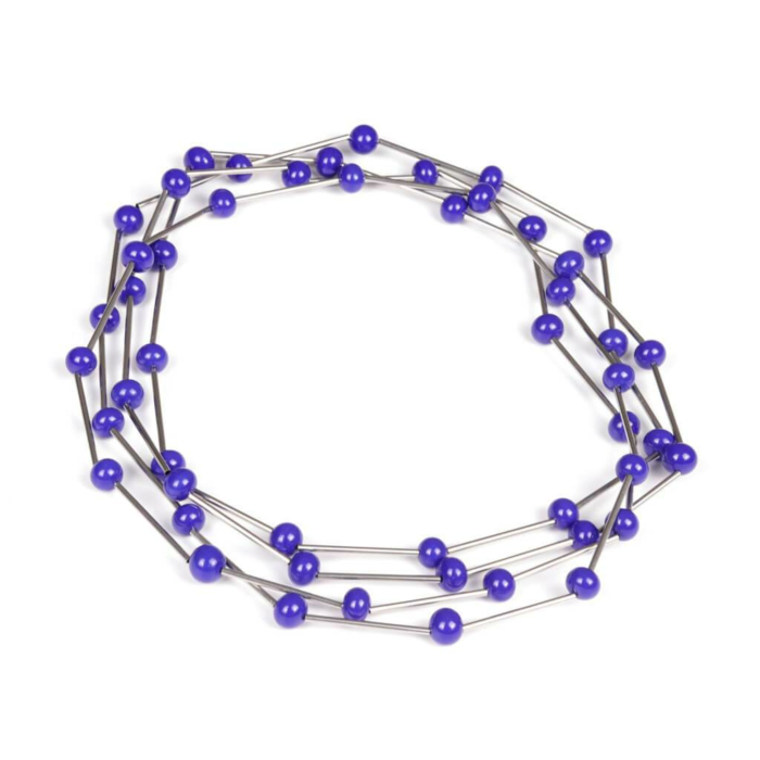 Centouno Versatile Blue and Steel Glass Bead Necklace