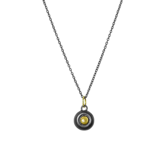 Black Patinated Silver Pendant With 18kt Gold Accent & V Chain