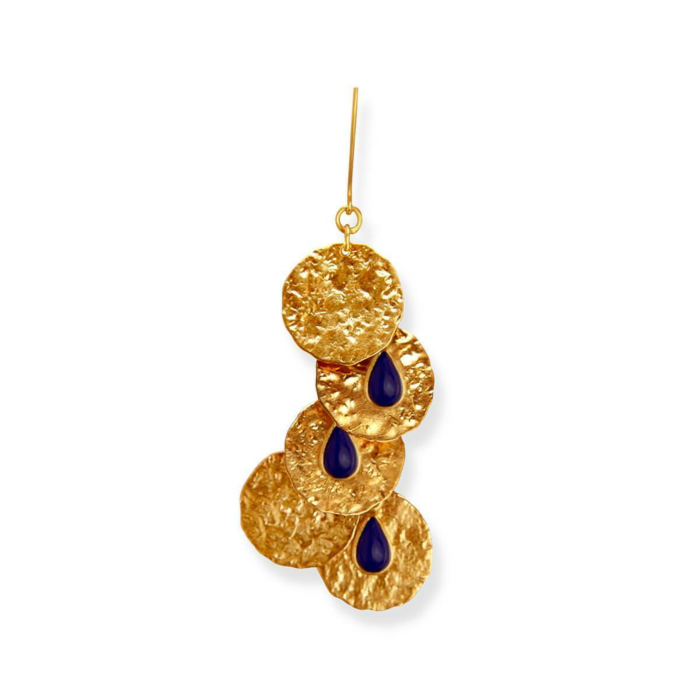 18kt Gold Plated Silver Golden Coins Drop Earrings