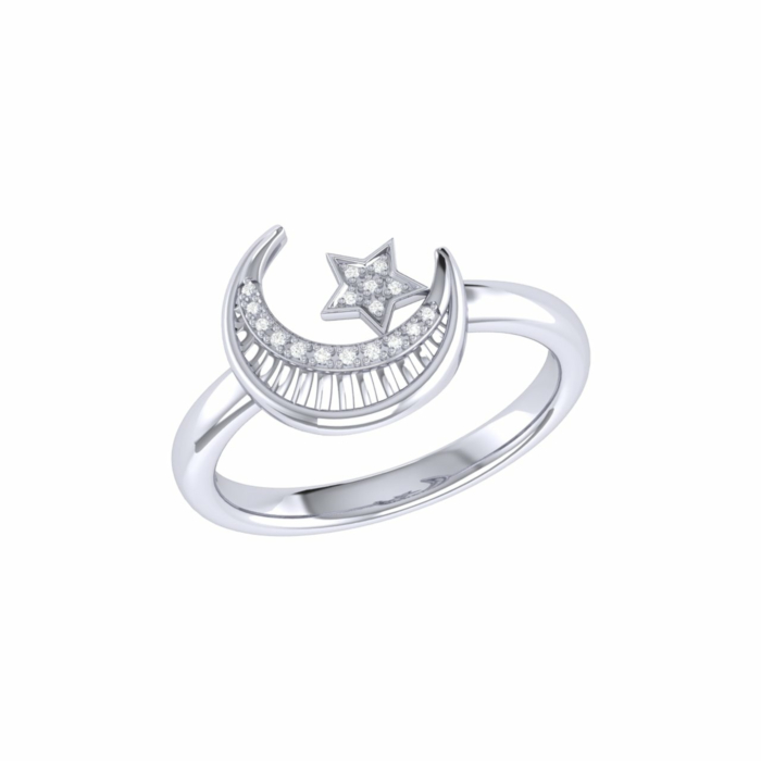 Starkissed Crescent Ring in Sterling Silver
