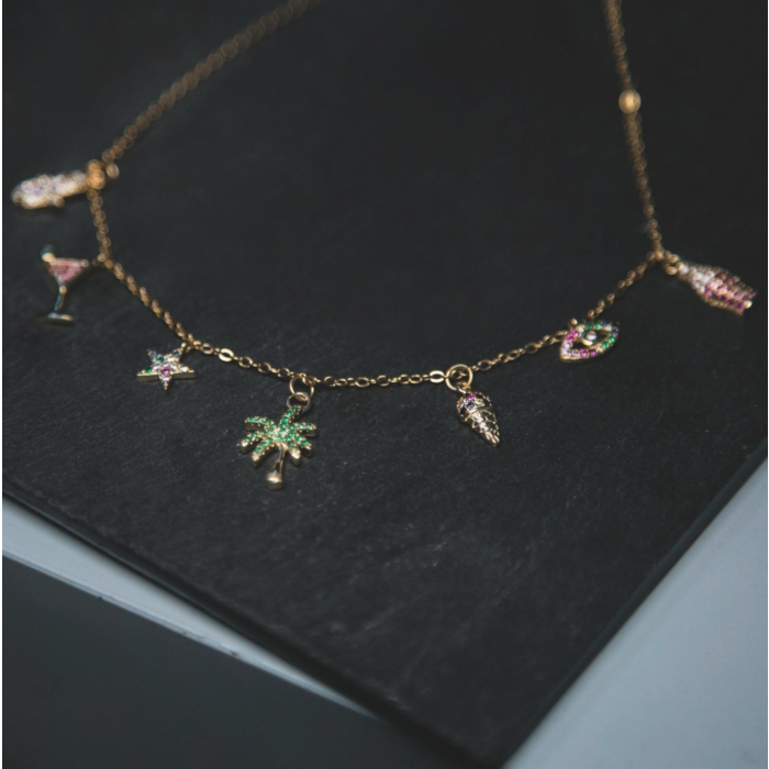 14kt Gold Plated Chardonnay Tropical Necklace