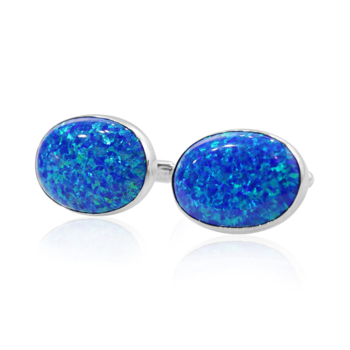 The Sterling Silver & Blue Opal Extra Large Oval Cufflinks