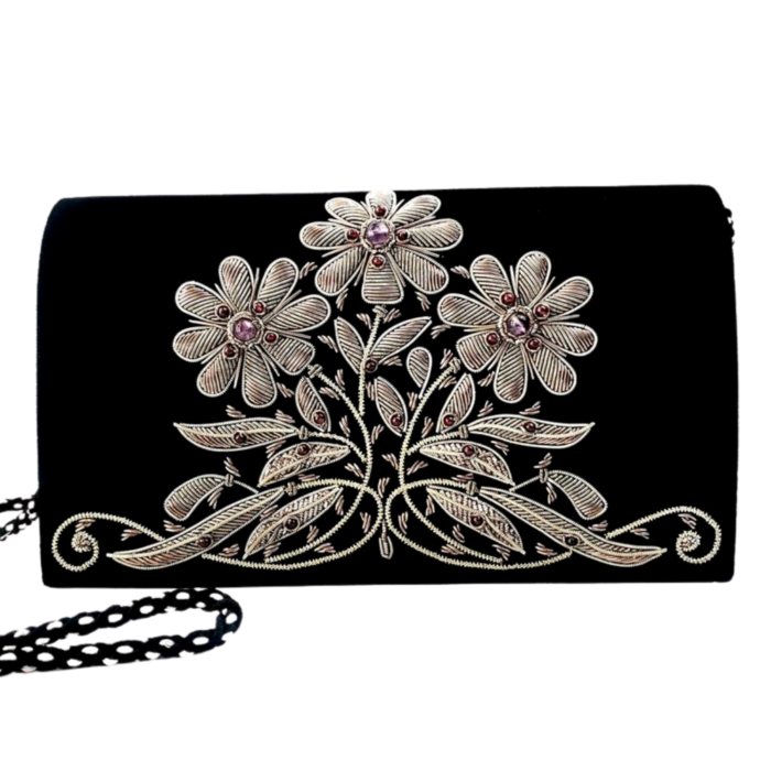 Black Velvet Floral Clutch Bag