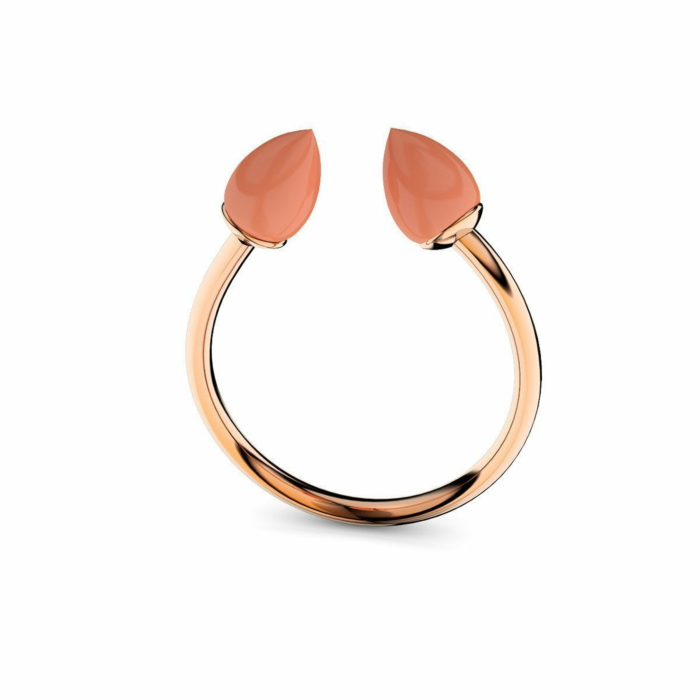 Rose Gold Plated Silver & Coral Ring