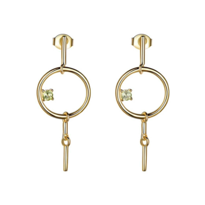 Gold Vermeil Geometric Dangle Earrings With Diopside