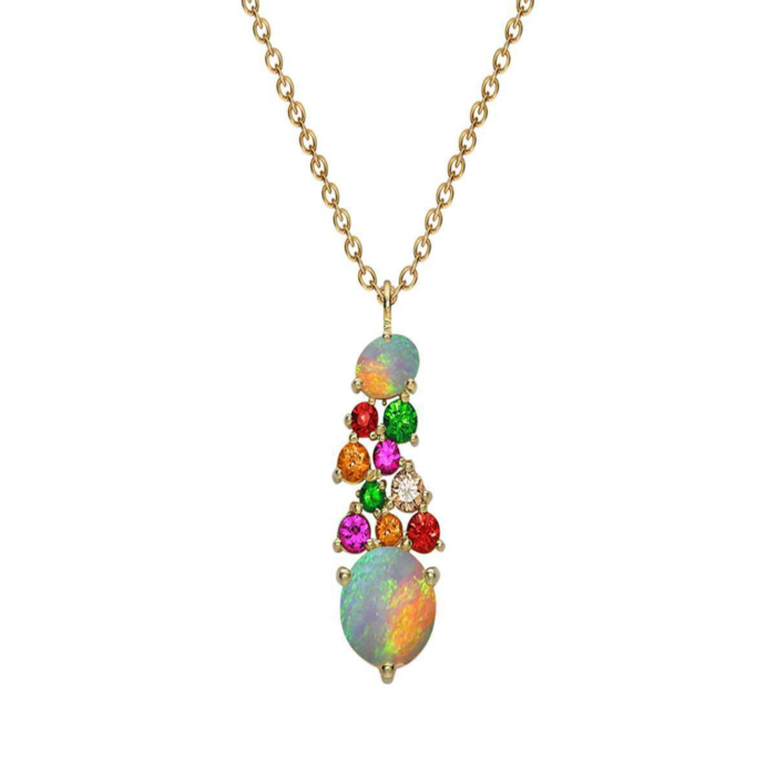 Modern Yellow Gold Multi-Gem Harlequin Pendant Necklace