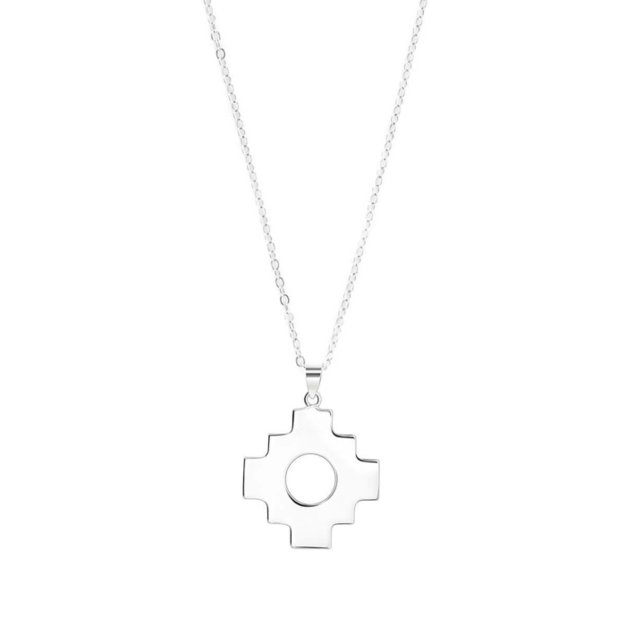 Sterling Silver Inca Cross Pendant Necklace
