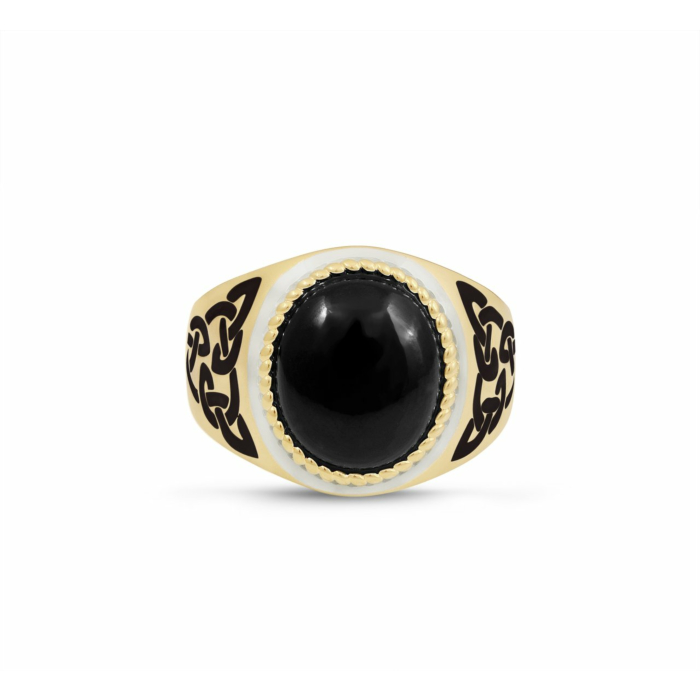 14kt Yellow Gold Plated Black Onyx Stone Ring