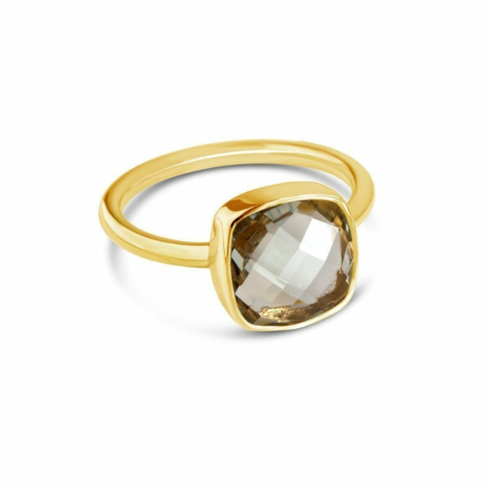Green Amethyst Cocktail Ring in Yellow Gold