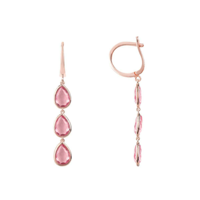 Sorrento Triple Drop Earrings Rose Gold Pink Tourmaline