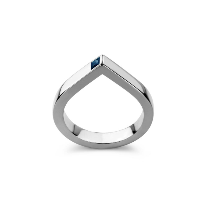 14kt White Gold Spot Ring With Blue Sapphire