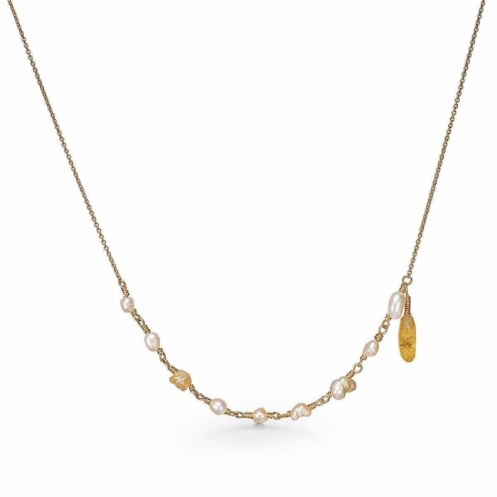 Yellow Gold & Pearl Leaf Necklace | Bergsoe