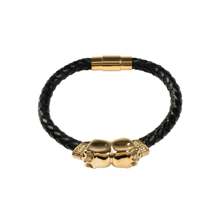 Black Leather Skull Bracelet With Gold Plated Silver
