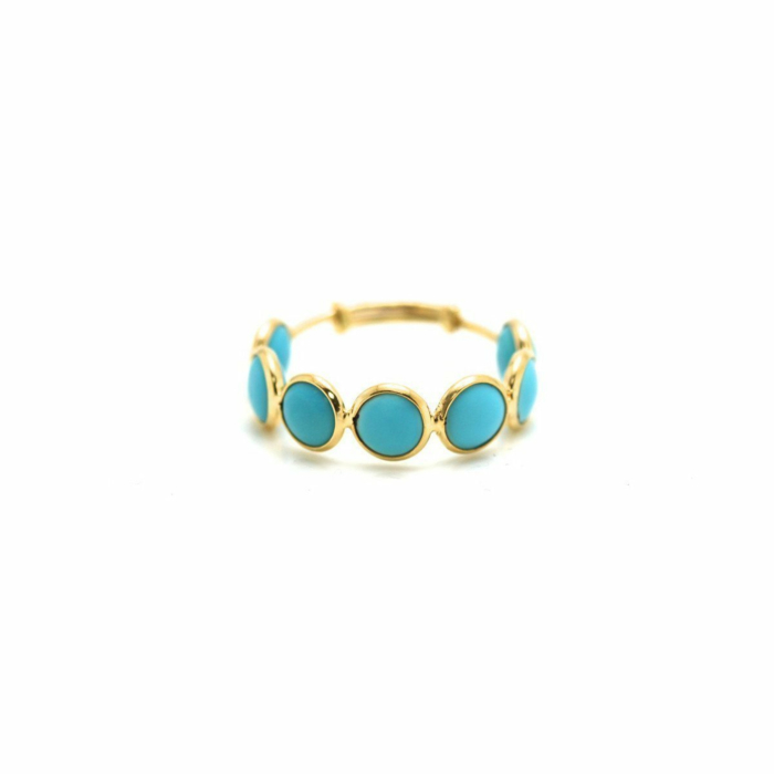 18kt Yellow Gold Turquoise Stackable Ring Band