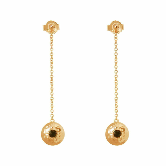 Gold & Black Spinel Grace Hanging Chain Earrings
