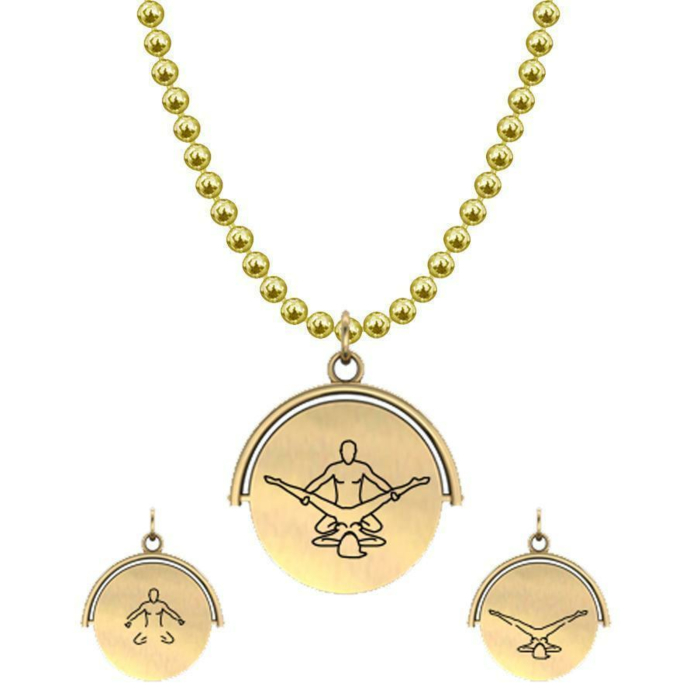 Allumersutra 13MM Gold Pendant Necklace - Girl And Boy - The Eagle