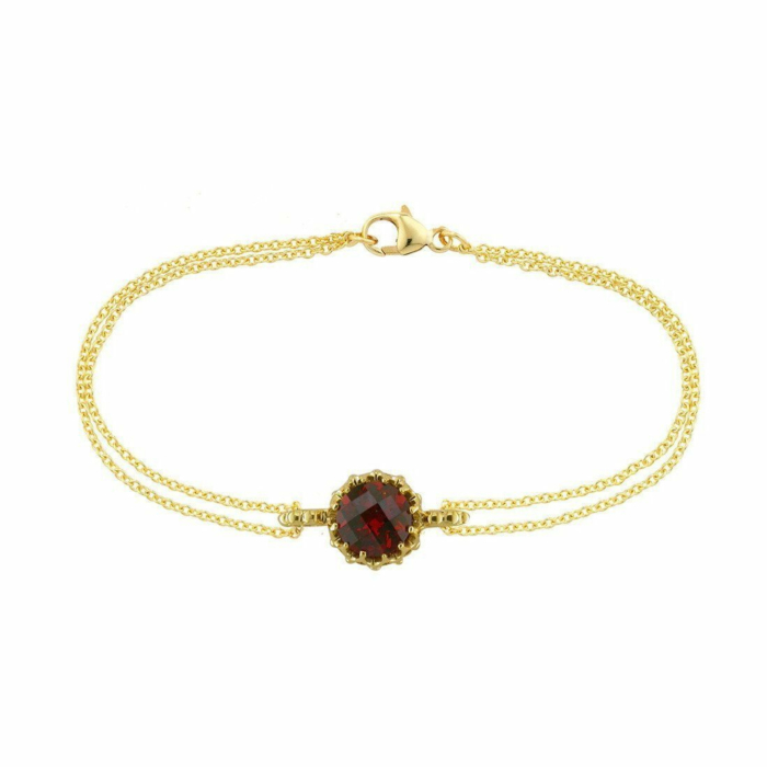 Bloomsbury Yellow Gold Chequer-cut Garnet Coronation Bracelet