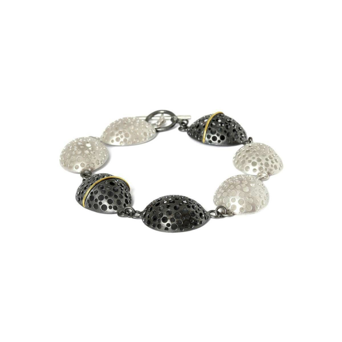 Patinated Black & Matt White Bracelet