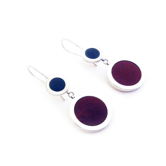 Sterling Silver & Leather Double Drop Circle Earrings