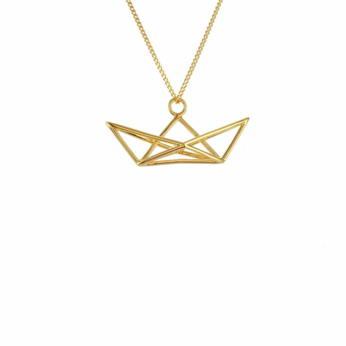 Sterling Silver & Gold Frame Boat Origami Necklace