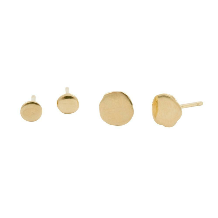 18kt Yellow Gold Small/Large Xilitla in Plain Stud Earrings
