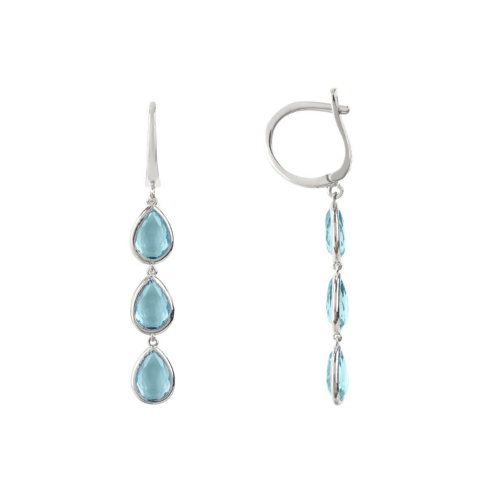 Sorrento Triple Drop Earrings Silver Blue Topaz