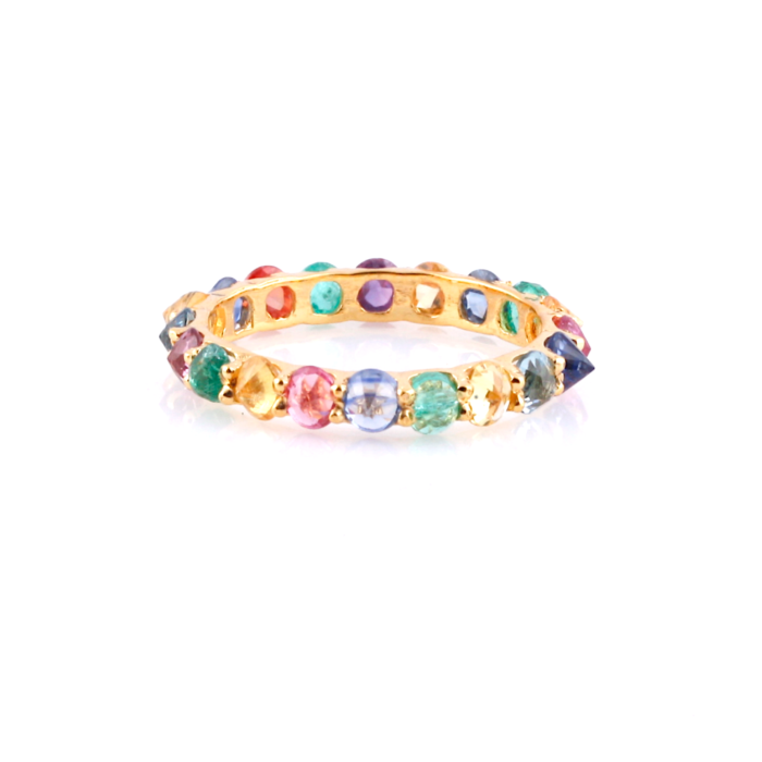 18kt Yellow Gold Multicolored Sapphire Round Rose-Cut Eternity Ring
