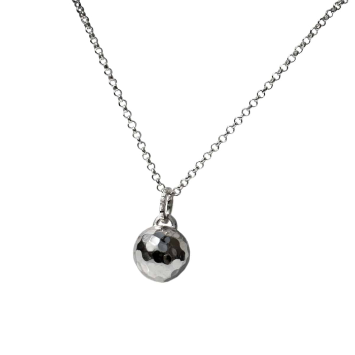 Sterling Silver Disco Ball Necklace
