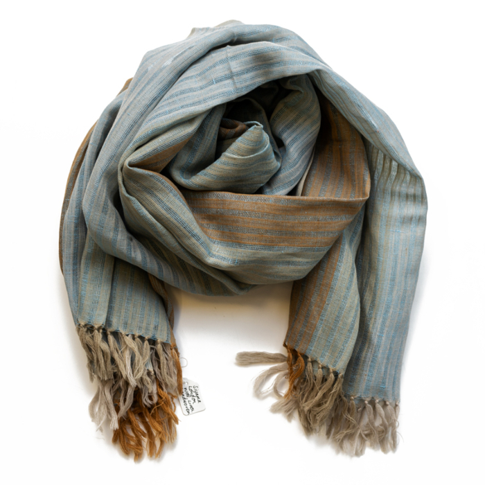 Blue & Mustard Yellow Linen Scarf