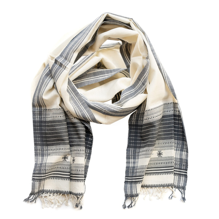 Vankar White and Grey Hand Woven Cotton Scarf