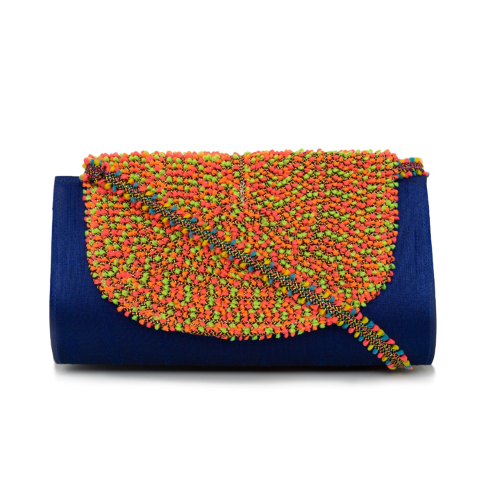 Vegan Blue Kutch Clutch Statement Bag