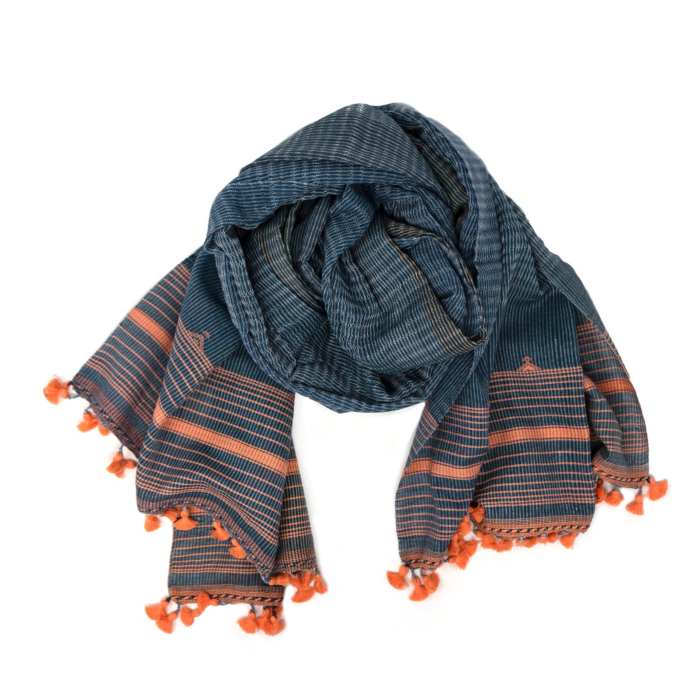 Two Tone Blue Fine Cotton Scarf With Pom Poms