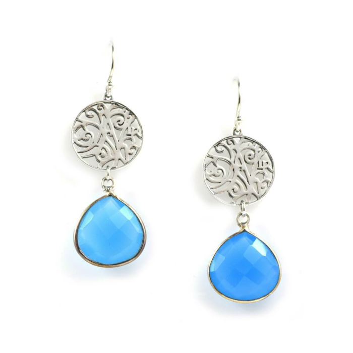 Earrings In Sterling Silver And Blue Chalcedony