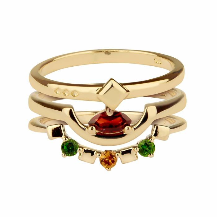 14kt Yellow Gold Plated Sterling Silver Red Garnet Triad Ring