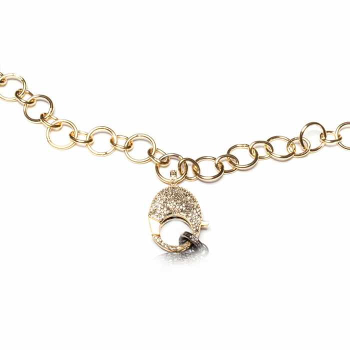 Yellow Gold Plated Large Link Chain Pave Diamond Clasp Necklace