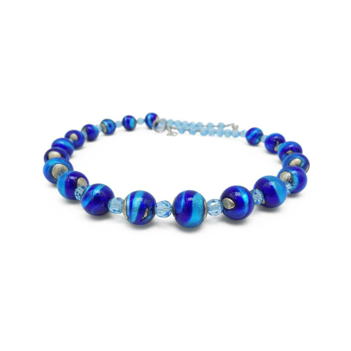 Murano Glass Bead Blue Star Necklace