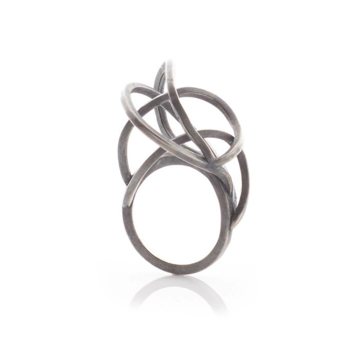 Oxidised Sterling Silver Round Tangled Rings