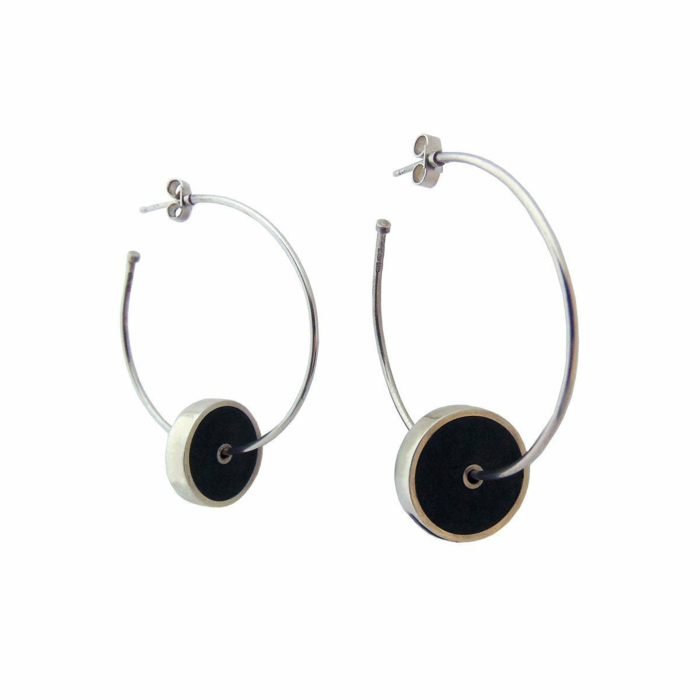 Sterling Silver & Leather Khaki Hoop Earrings